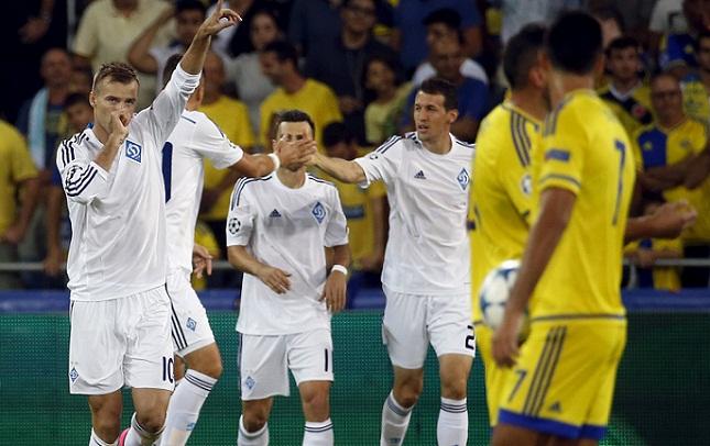 Dynamo Kyiv's Andriy Yarmolenko celebrates after scoring against Maccabi Tel Aviv during their Champions League group G soccer match at Sammy Ofer stadium in Haifa, Israel