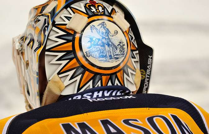 NASHVILLE, TN - FEBRUARY 19:  The rear of the helmet of goalie Chris Mason of the Nashville Predators during warmups prior to a game against the Detroit Red Wings at the Bridgestone Arena on February 19, 2013 in Nashville, Tennessee.  (Photo by Frederick Breedon/Getty Images)